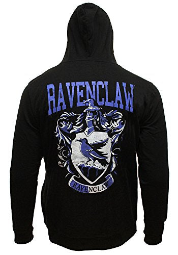 Bioworld Harry Potter Men's Distressed Ravenclaw House Crest Full Zip Hoodie Sweatshirt (X-Large)