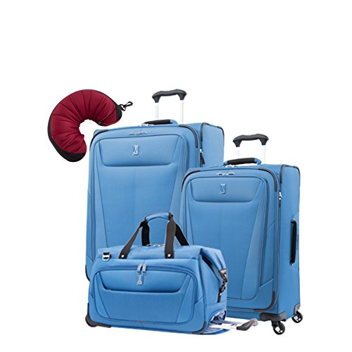 "Travelpro Maxlite 5 | 4-Pc Set | Carry-On Duffel, 25"" & 29"" Exp. Spinners With Travel Pillow (Azure"