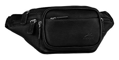 Mancini COLOMBIAN Classic Leather Waist Bag in Black