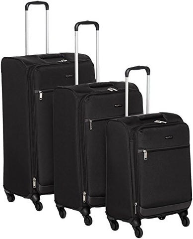 "Amazonbasics Softside Spinner Luggage - 3 Piece Set (21"", 25"", 29""), Black"