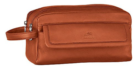 Mancini COLOMBIAN Double Compartment Leather Toiletry Kit in Cognac