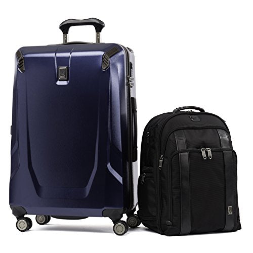 "Travelpro Crew 11 2 Piece Set (25"" Hardside Spinner and Executive Backpack), Navy and Black"