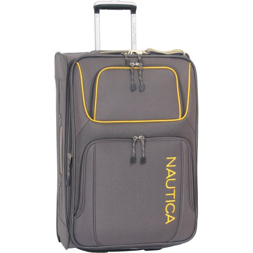Nautica Luggage Steward 25 Inch Expandable Classic Upright Bag, Grey/Yellow, One Size
