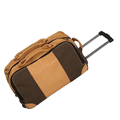 Canyon Outback Stilson Canyon 20 Inch Leather and Canvas Rolling Duffel Bag, Brown, One Size