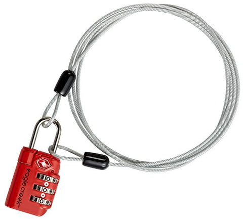 Eagle Creek 3-dial TSA Lock & Cable, Flame Orange
