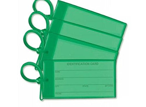 4 Green Luggage Tags Made In Usa Stylish Bag Tag Travel Id Labels For Baggage Suitcases Bags