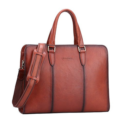 Banuce Vintage Full Grains Italian Leather Briefcase for Women Tote Handbag Attache Case 14 Inch