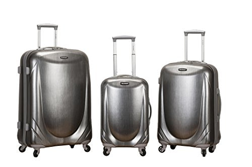 Rockland Luggage 3 Piece Polycarbonate Spinner Set, Silver, One Size