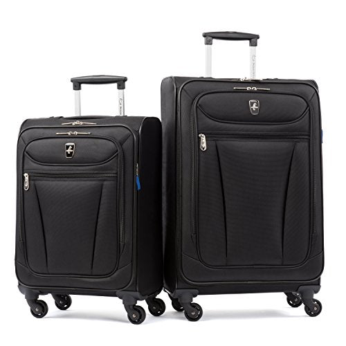 Atlantic Luggage Avion Lite 2 Piece Spinner Luggage Set, Black