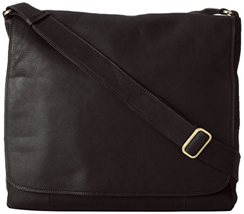 Derek Alexander Large 3/4 Flap Unisex Messenger Bag, Black, One Size