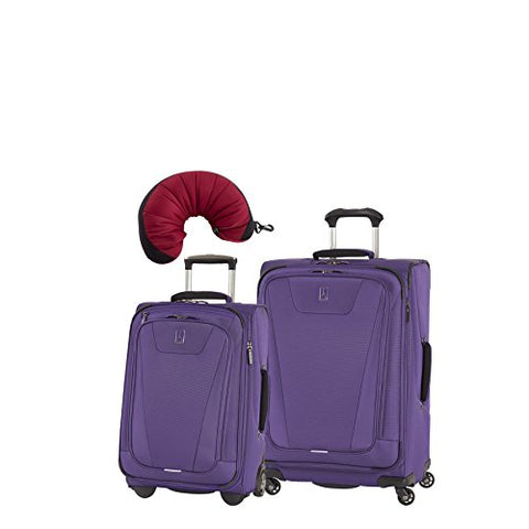 "Travelpro Maxlite 4 | 3-Piece Set | 22"" Exp Upright, 25"" Exp Spinner, Travel Pillow (Purple)"