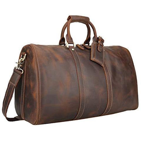 Polare Men'S 20'' Retro Real Leather Weekender Duffel Overnight Bag Carry On Luggage