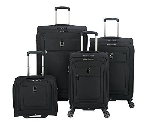 Delsey Luggage Hyperglide 4 Piece Luggage Set Carry On & Checked Spinner Suitcases, Black