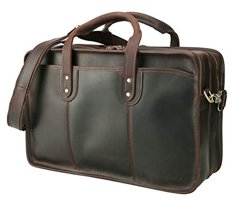 "Polare Men'S 17"" Full Grain Leather Messenger Shoulder Bag Office Business Laptop Briefcase"