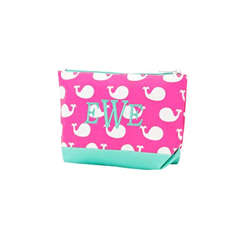 "10"" Fashion Polyester Accessory/Cosmetic Bag (Hot Pink Whales)"