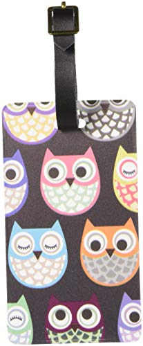 Graphics & More Cute Owl Pattern Luggage Tags Suitcase Carry-on Id, White