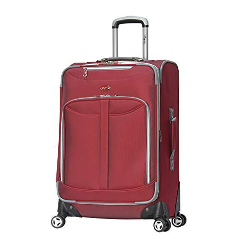Olympia Luggage  Tuscany 25 Inch Expandable Vertical Rolling Luggage Case,Red,One Size