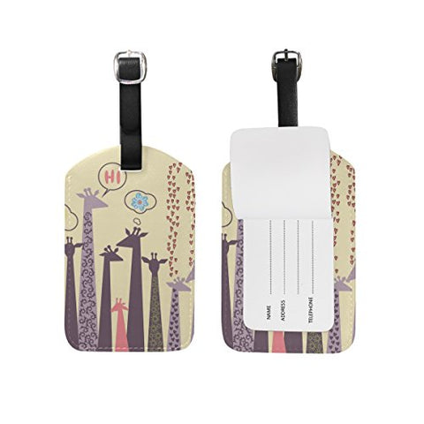 Cooper Girl Cartoon Giraffe Luggage Tag Travel Id Label Leather For Baggage Suitcase 1 Piece
