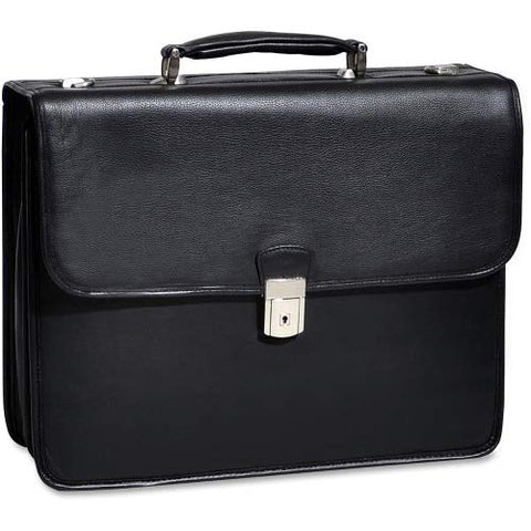 "Double Compartment Laptop Briefcase, Leather, 15.4"" in, Black - Ashburn 