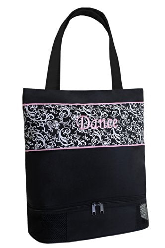 Sassi Designs Girl's Damask Print Shoe Compartment Dance Tote Bag