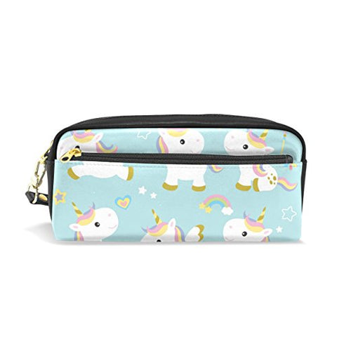 Colourlife Cute Unicorns Pu Leather Pencil Case Holder Pouch Makeup Bags For Boys Girls Adults