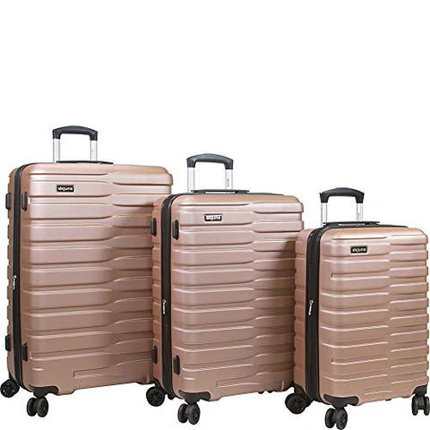 Dejuno Cortex Lightweight 3-Piece Hardside Spinner Luggage Set-Rose Gold