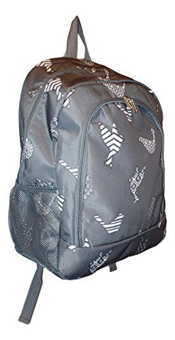 High Fashion Print Medium Sized Backpack - Custom Personalization Available (Grey Dove)