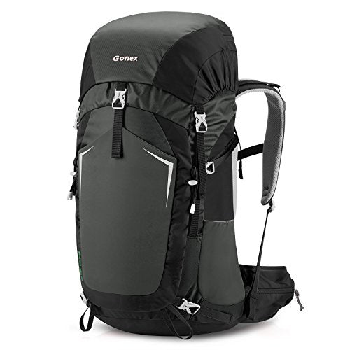 Gonex 55L Hiking Backpack Outdoor Trekking Camping Backpack Rain Cover Included Black