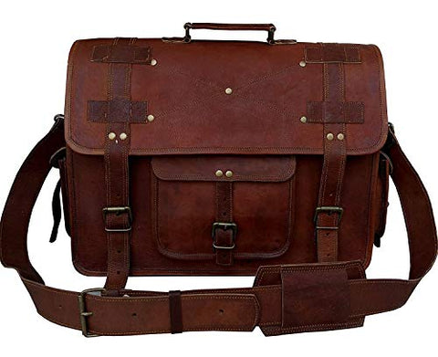18 Inch Vintage Men's Brown Handmade Leather Briefcase Best Laptop Messenger Bag Satchel