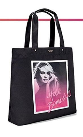 Victoria'S Secret Hello Bombshell Black Graphic Tote Bag Cotton Canvas
