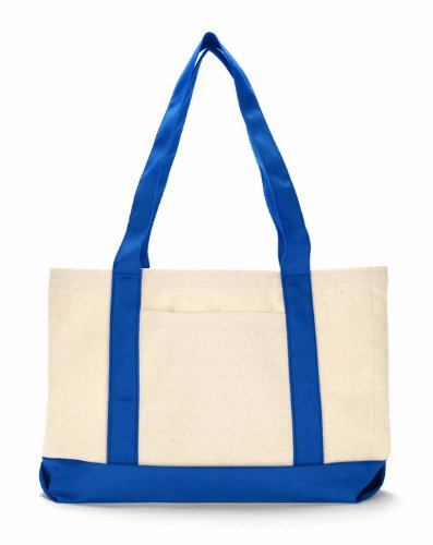 Ultraclub 8869 Uc 11Oz Cottn Canvas Tote - Natural/ Royal - One