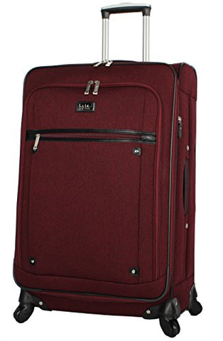 "Nicole Miller Luggage Carry On 20"" Expandable Softside Suitcase With Spinner Wheels (20 in, Rosalie Burgundy)"