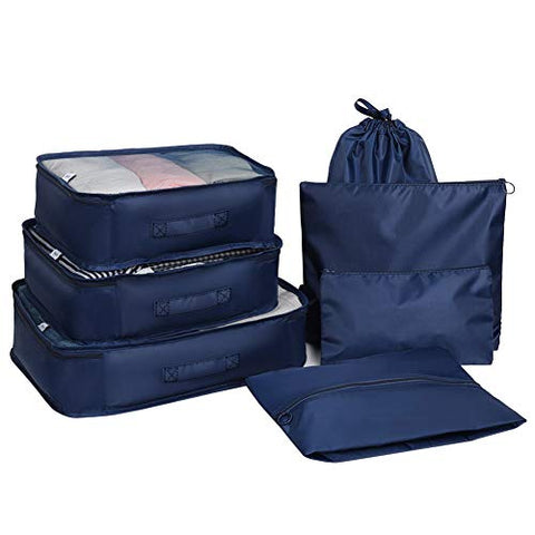 Aoolife 7 Set Travel Storage Bags Packing cubes Multi-functional Clothing Sorting Packages,Travel Packing Pouches,Luggage Organizer with shoe bag (Dark blue)