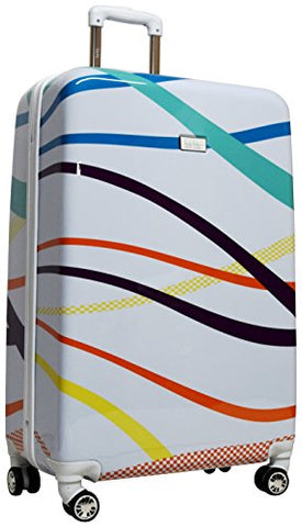"Nicole Miller Rainbow 28"" Hard-Sided Luggage Spinner (White)"