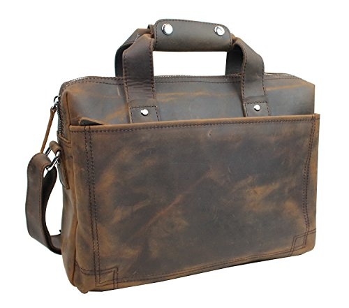"Vagabond Traveler 15"" Classic Fine Leather Messenger Bag Daily Bag L29. Vintage Brown."