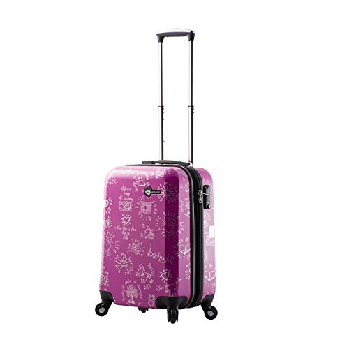 "Mia Toro M1089-20in-Pur Love This Life-Medallions Hardside Spinner Luggage 20"" Carry-on, Purple"