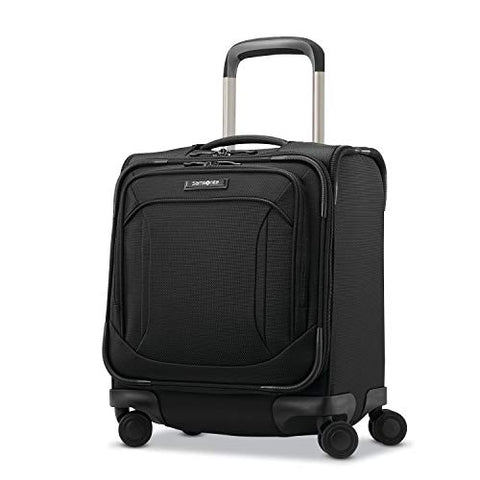 Samsonite Lineate Underseat Carry On Boarding Bag with Spinner Wheels, Obsidian Black