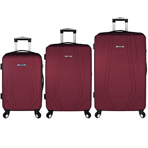 Elite Luggage Paris 3 Piece Hardside Spinner Luggage Set (Red)