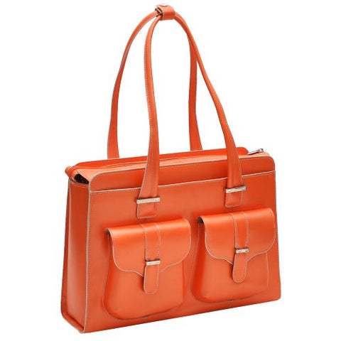 "McKlein, W Series, Alexis, Top Grain Cowhide Leather, 14"" Leather Ladies' Laptop Briefcase, Orange (96540)"