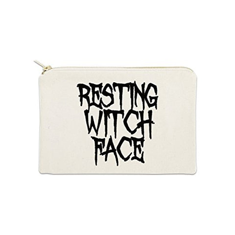 Resting Witch Face 12 oz Cosmetic Makeup Cotton Canvas Bag - (Natural Canvas)