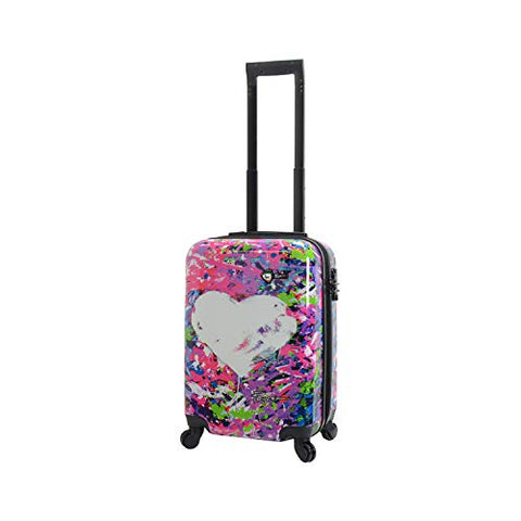 Mia Toro Prado Hardside Spinner Luggage Carry-on, Peace Love H.iness
