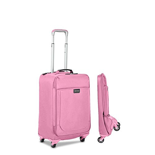 Biaggi Leggero 22-inch Foldable Carry-on Spinner Upright Suitcase Pink