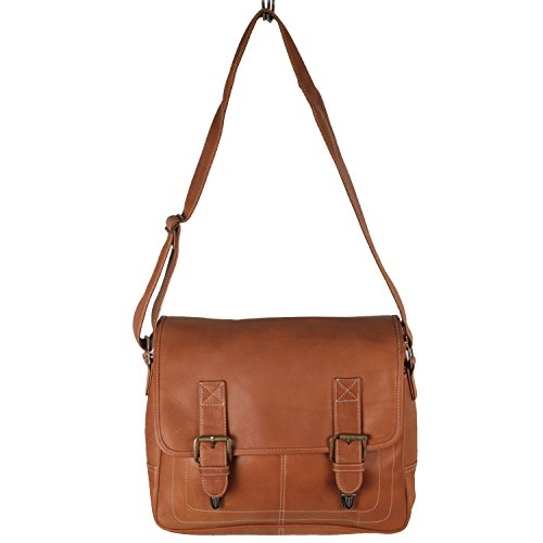 Latico Leathers Adventurer Messenger Bag, Natural, Large Business Briefcase, Adjustable Strap