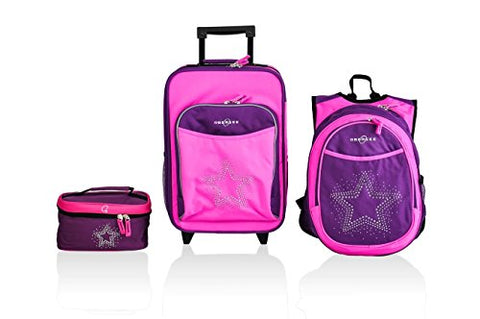 Obersee Little Kids Luggage Set, Bling Rhinestone Star