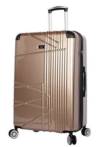 Nicole Miller Trixy Expandable Hardside 24'' Upright Luggage Spinner (24in, Rose Gold)