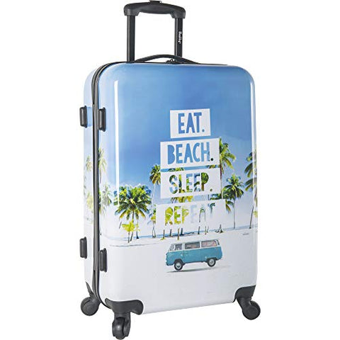 "Wembley 20"" Hardside Carry-on 4wheel Spinner Luggage, EAT Beach Sleepy Repeat"