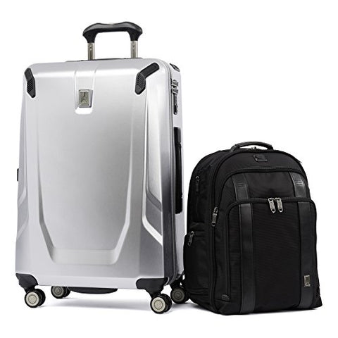 "Travelpro Crew 11 2 Piece Set (25"" Hardside Spinner And Executive Backpack), Silver And Black"