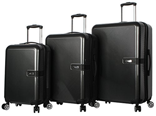 "Nicole Miller New York Ria Collection Hardside 3-Piece Spinner Luggage Set: 28"", 24"", and 20"" (One Size, Ria Charcoal)"