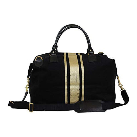 CB Station Brushed Canvas Weekender Black With Gold Paintstroke Stripes, 18 oz Canvas