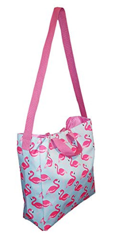 101 BEACH - Flamingo 2 IN 1 Cross-Over Large Tote Bag - Custom Embroidery (Pink Flamingo)